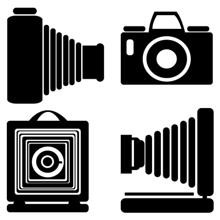 vintage camera icons isolated on white background Vector
