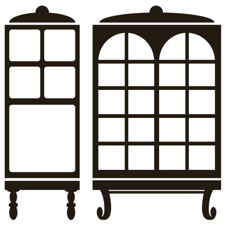 furniture icons of cabinet isolated on white background Vector