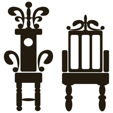 furniture of throne icons isolated on white background Vector