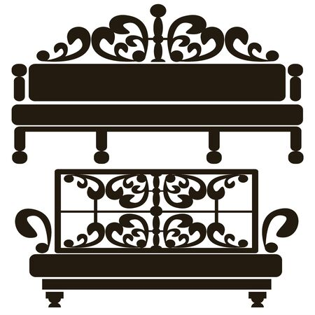 furniture of classical icons isolated on white background Vector