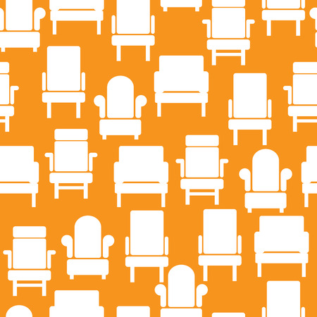 white icons of furniture on seamless pattern Vector