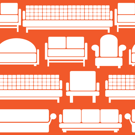 icons of furniture on seamless pattern Vector