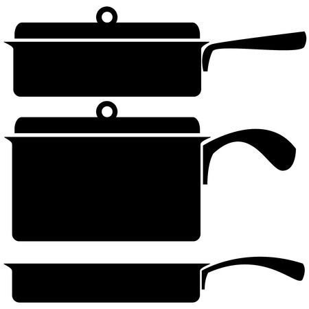 skillet: kitchenware icons on a white background