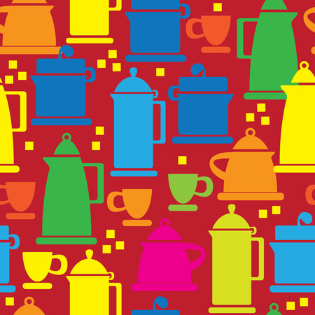 skillet: electric kettle icons of seamless pattern