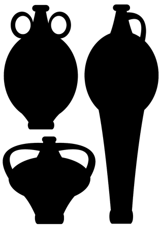 amphoras icons isolated on white background Vector