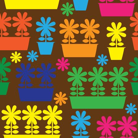 multicolor pot of flowers icon of seamless illustration Vector