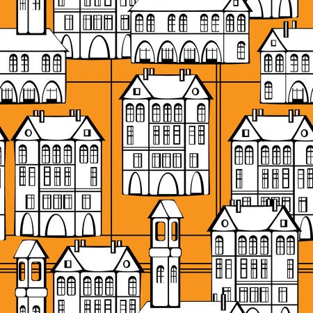 cartoon building: vintage houses and firehouse on seamless pattern