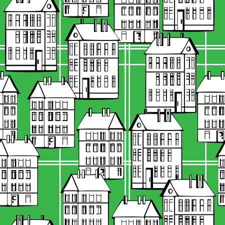 vintage houses of seamless pattern Stock Vector - 23979477