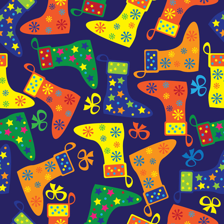 colorful Christmas socks seamless pattern Vector