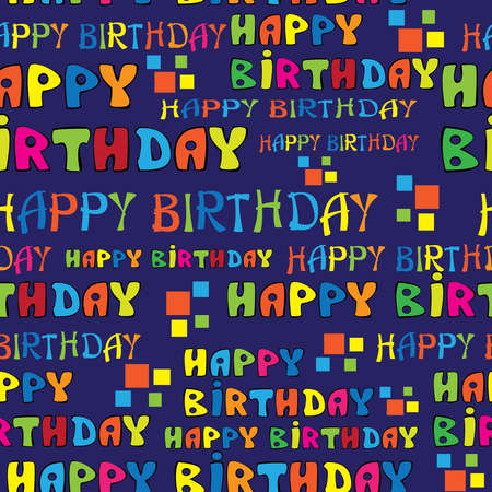 text HAPPY BIRTHDAY seamless pattern Vector