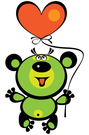 colored cute teddy bear on white background  Vector