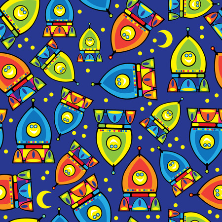 rocket toy seamless pattern Vector