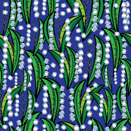 lily of the valley seamless pattern Vector