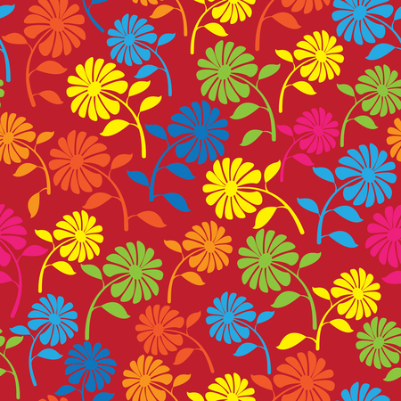colorful wild flowers seamless pattern Vector