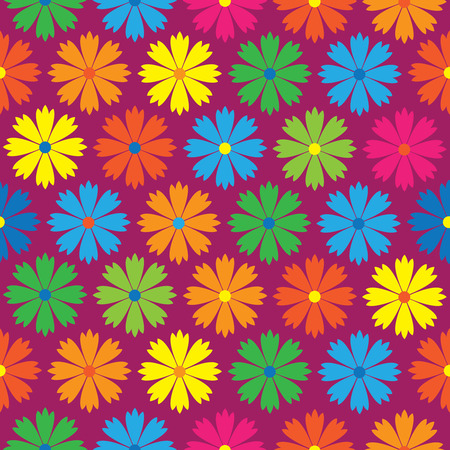 colored carnation flowers seamless pattern Vector
