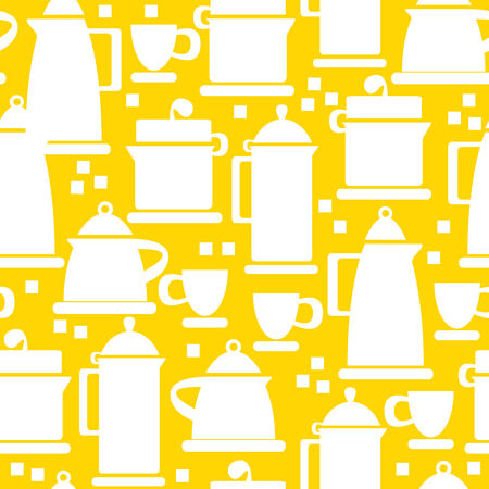 electric kettle icons of seamless pattern