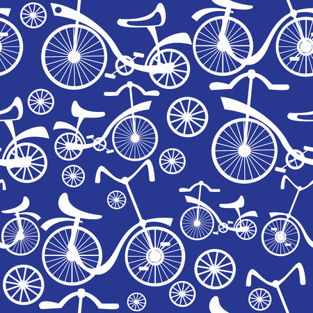 retro children's bicycle seamless pattern  Vector
