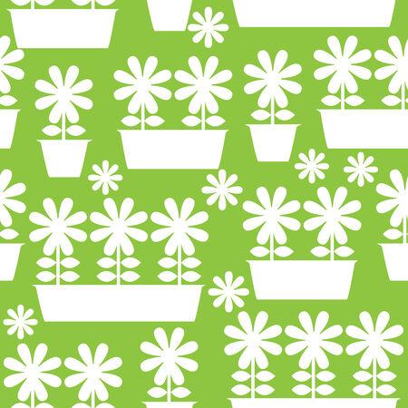 white pot of flowers icon of seamless illustration