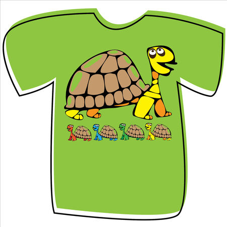 T-shirt with a turtle on white background  Vector