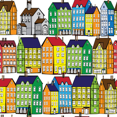 europe old houses seamless pattern Vector