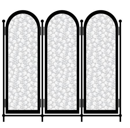 schermo pieghevole isolato su sfondo bianco