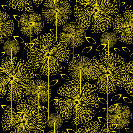 yellow dandelions flowers seamless pattern Vector
