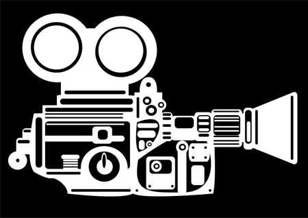 vintage film camera isolated on black background photo