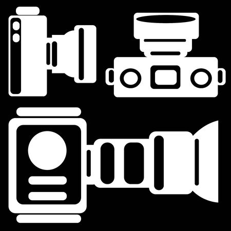 camera icons isolated on black background photo