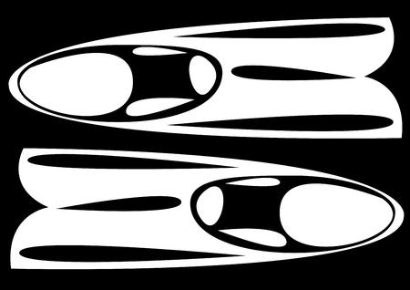 schwimmflossen: Flossen auf schwarzem Hintergrund