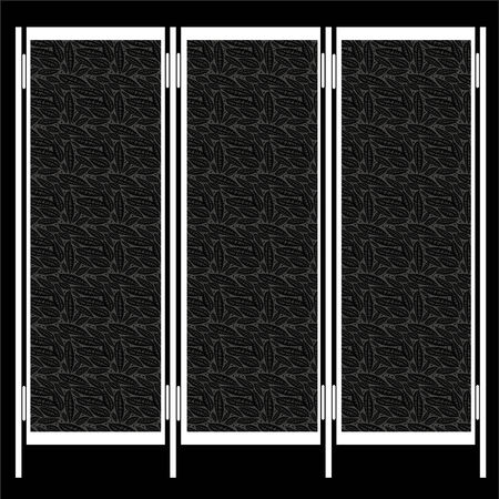 screen partition: folding screen isolated on black background