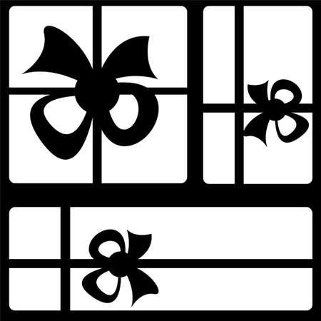 gift box icons on black background photo