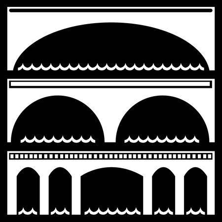 web design bridge: bridge icons isolated on black background