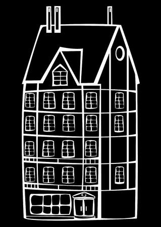 framing:   vintage framing house isolated on black background