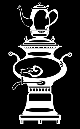 illustration samovar on black background illustration