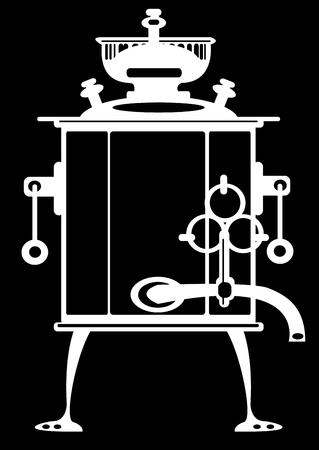 illustration samovar on black background illustration