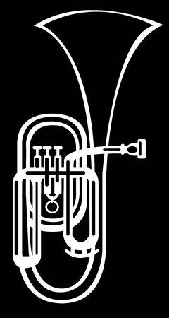 alto: illustration tuba alto horn on black background