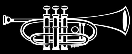 cornet: illustration tuba cornet on black background