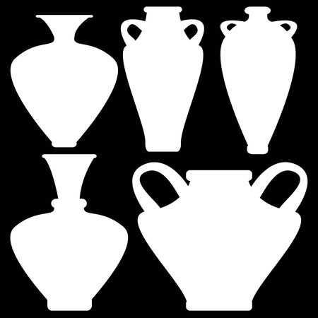 vases icons isolated on black background photo