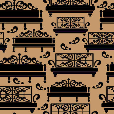 Sofas icons seamless pattern Vector