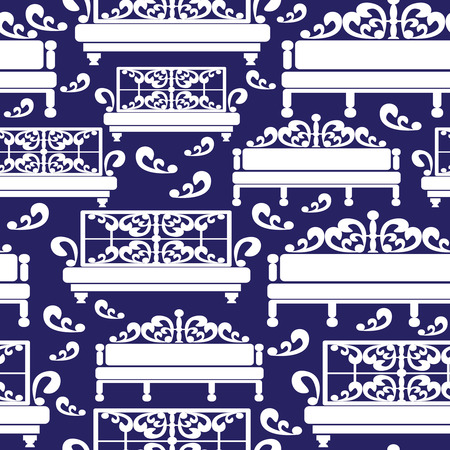 white sofas icons seamless pattern Vector