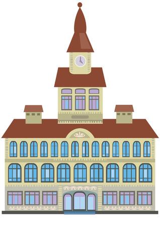 Bâtiment de la Mairie isolé sur fond blanc Vecteurs