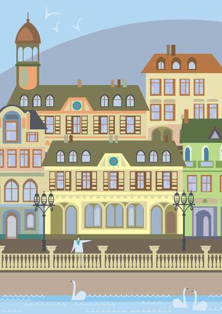 promenade: promenade in the old town europe Illustration