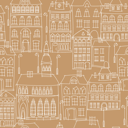 urban landscape seamless pattern Vector
