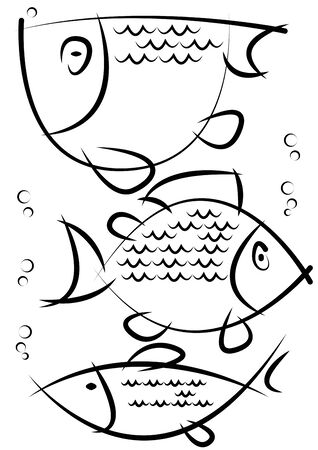 sketches of fish isolated on white background Vector