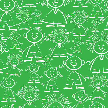 boys and girls seamless pattern Illustration