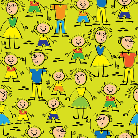 Dad, mom and son seamless pattern