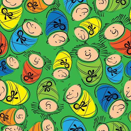 babies in diapers colored seamless pattern Illustration