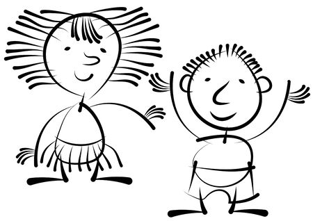 boy and girl isolated on white background Illustration
