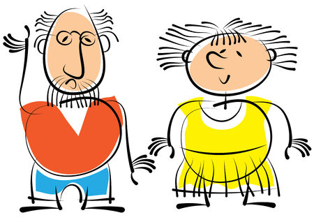 Dad and Mom isolated on white background Illustration
