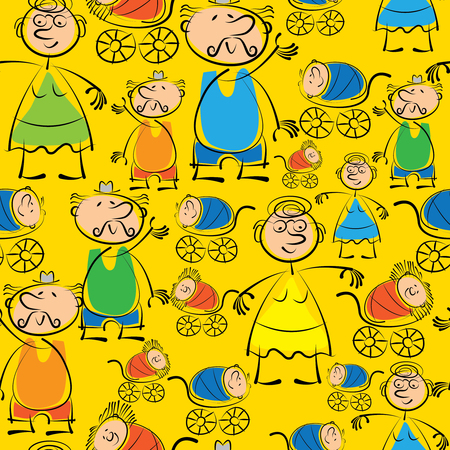grandchildren: grandmother, grandfather and grandchildren seamless pattern